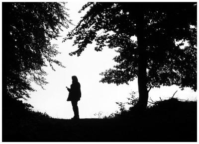 Wanderer auf einem Hügel