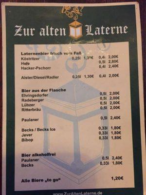 Zur alten Laterne (Weimar) - Preistafel